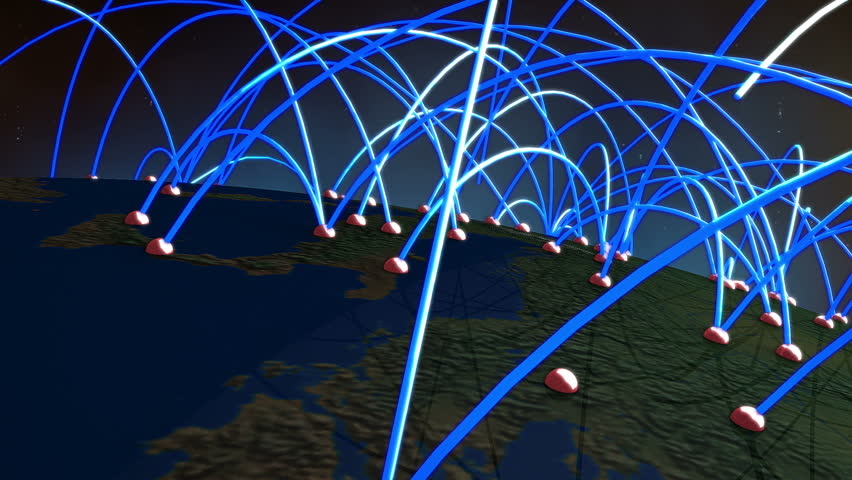 Network Connections over Europe Flyover 3D Animation illustrating business connections, e-commerce relations, flight routes connecting the cities of Europe by lines