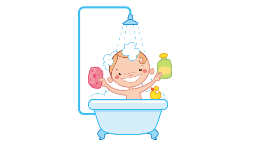Animation loop of happy cartoon baby kid washing in bath in a bathtub holding a shampoo bottle and a scrubber washing its head and having a rubber duck toy