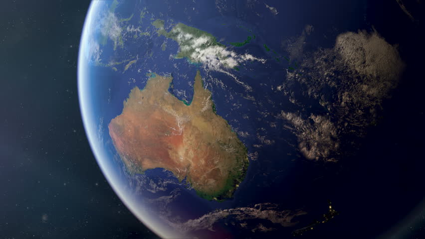 Orbiting over Australia from space. Photorealistic 3d animation, created using extremely high resolution (50k+) Nasa textures. As the sun sets you see the cities light up.