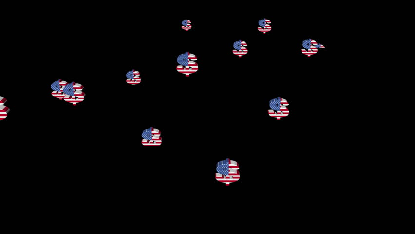Stock Video Of Rising Dollar Symbols With American Flag 1005013