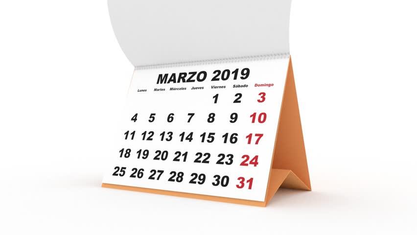 desk calendar for 2019. new year 2019 calendar in spanish