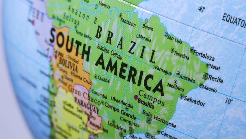South America. Terrestrial Globe 4K Terrestrial globe rotates and stops at South America.