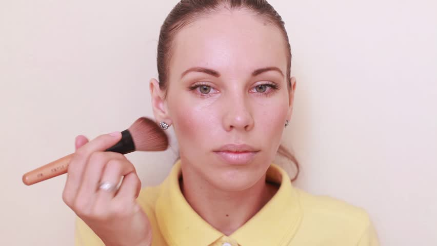 makeup tutorial time lapse. Woman before and after daily makeup