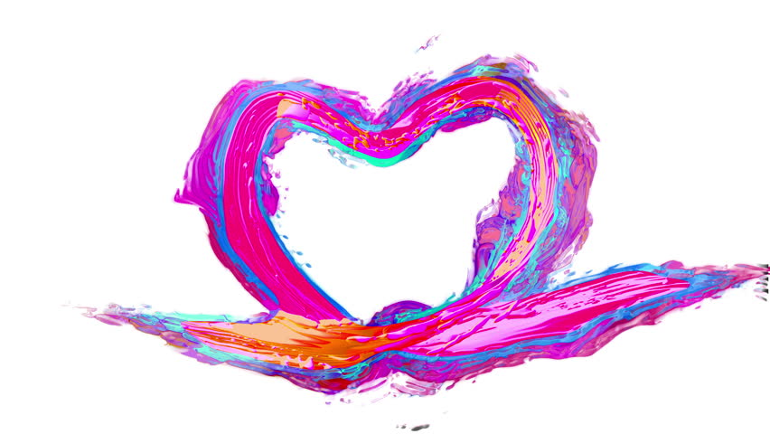 Slow motion color paint splash in clear water creating Love Heart. Ink swirling underwater. Cloud of ink collision best for Wedding and Health day, Colorful abstract explosion animation. Macro view | Shutterstock HD Video #1006593793