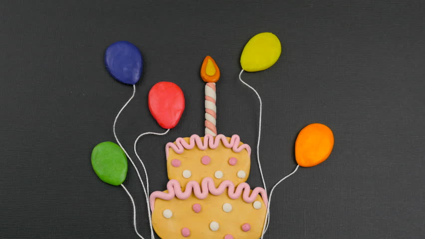 Stop Motion Animation Video Greeting Card Happy Birthday With Cake Creative Unusual Present Bright Colors