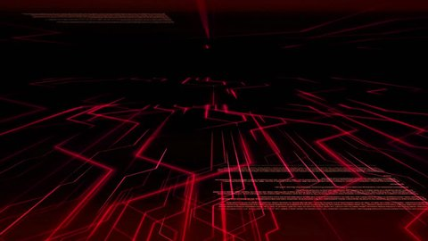 Seamless abstract red warning light animation background pattern of electronic circuit current with computer source code moving in background.