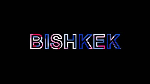 Letters are collected in capital name BISHKEK, then scattered into strips. Bright colors. Alpha channel Premultiplied - Matted with color black