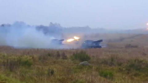 CIRCA 2010s - NATO live fire tank Exercise of the Croatian Volcano Battery with the Battle Group Poland on November 29, 2017.