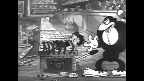 CIRCA - 1933 - The toys save Betty Boop from the Gorilla, although many are injured.