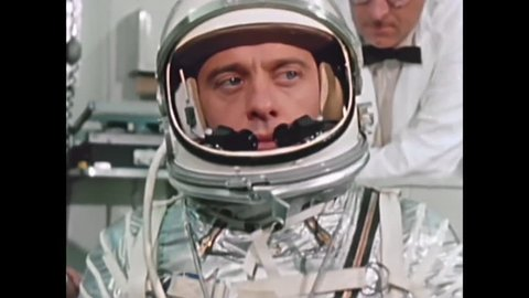 CIRCA 1961 - Alan Shepard is prepared to be sent into space in light of JFK's assertion that Americans will travel to the moon (narrated in 2000).