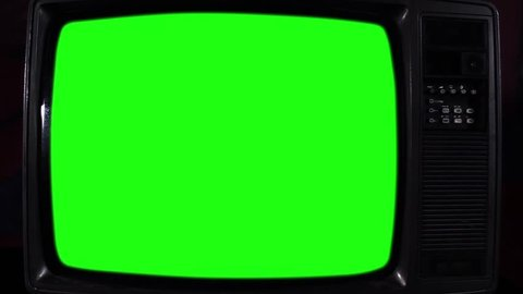 Vintage Green Screen TV, Ready to Replace Green Screen with Any Footage or Picture you Want. Close-Up. Zoom In.