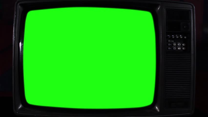 "Vintage TV Green Screen. Night Tone. Zoom In.  You can Replace Green Screen with the Footage or Picture you Want with ""Keying"" effect in After Effects (check out tutorials on YouTube).  