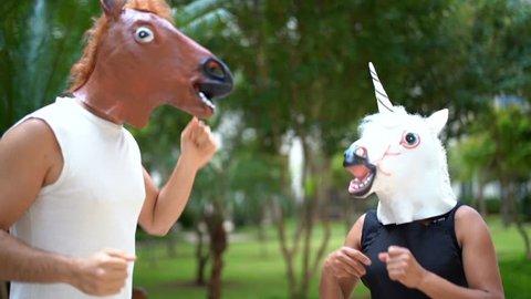 Horse and Unicorn Dancing and Having Fun