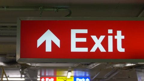 Red Exit Sign, Emergency Arrow Symbol, Light Sign Directions