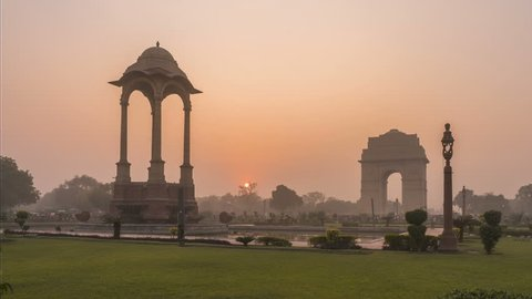 India gate sunset time-lapse 4k footage