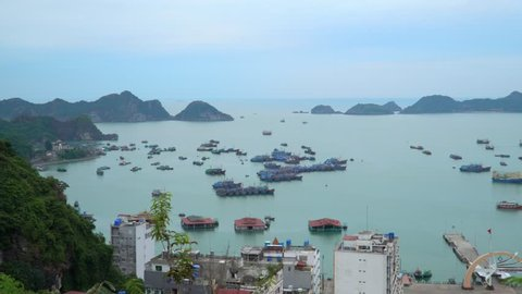 A large number of traditional boats costs in the gulf at the island. The city at a bay. Cat ba. Panoramic landscape view of Cat Ba City of Cat Ba Island, Vietnam.