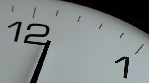 Close up- office clock timelapse. White wall clocks running. The movement of clock hands. Arrow 12 hours. Time for lunch