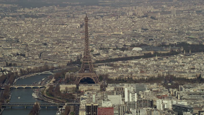 4K Panoramic aerial view, the Eiffel Tower, Seine and buildings in Paris, France | Shutterstock HD Video #1006827763