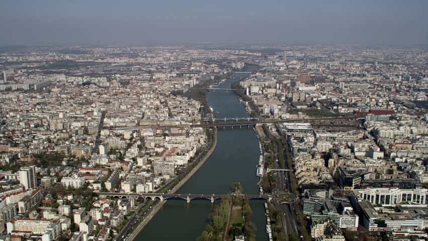 4K Panoramic aerial view of Paris city skyline with skyscrapers & river Seine | Shutterstock HD Video #1006827883