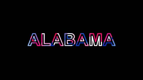 State Name ALABAMA from letters of different colors appears behind small squares. Then disappears. Alpha channel Premultiplied - Matted with color white