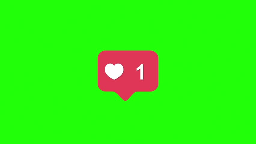 Instagram Red Icon Like Counter Notification Green Screen 3D Rendering Animation