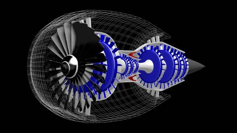 3D animation/ 3D rendering - plane engine (with wireframe) - great for topics like aviation, engineering, technology etc.