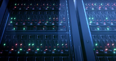 Servers close up. Server. Modern data center. Cloud computing. Mining farm. Loopable seamless animation. 4k UHD