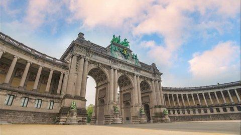 Timelapse at Arcade du Cinquantenaire of Brussels (Arc de Triomphe), Brussels, Belgium 4K Time Lapse