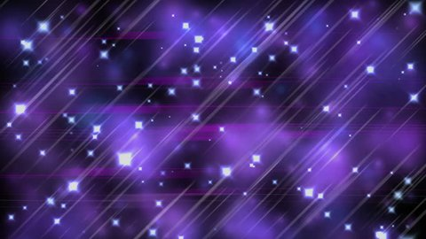 Ultra violet parallel lines, stars and blurred lights, neon  light streaks forming crossing shiny lines, with sparkling graphic particles, dynamic vivid background, abstract illustration, animation