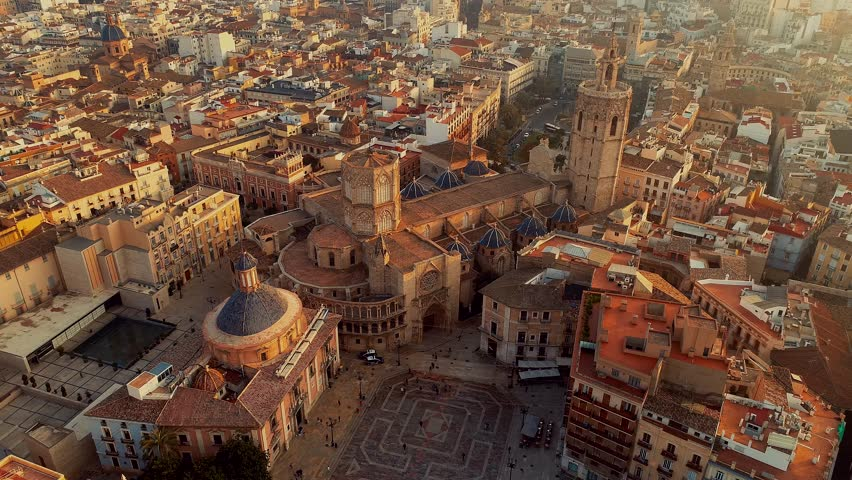 Valencia Spain Square of Saint Mary s Architecture at Sunrise. aerial cinematic 4k uhd  | Shutterstock HD Video #1006916863