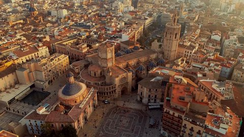 Valencia Spain Square of Saint Mary s Architecture at Sunrise. aerial cinematic 4k uhd