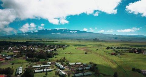 Drone aerial looking at Mauna Kea Hawaii volcano