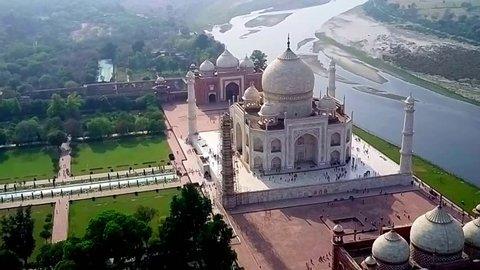agra - india, february 2017. aerial taj mahal shot by drone