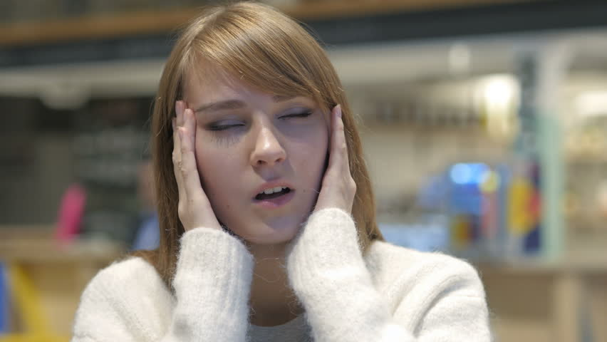 Tense Young Woman with Headache, Frustrated Life | Shutterstock HD Video #1006966933