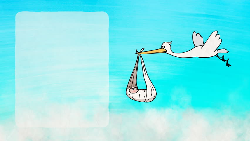 Animated greeting card: 2D Cartoon Funny Character Stork Bringing a Newborn Baby. Frame for text on the left. Colorful background with clouds. Animation looped.