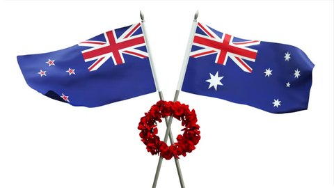 3D rendering of Australian and New Zealand flags waving with poppy wreath commemorating ANZAC day, lest we forget, looping, with alpha