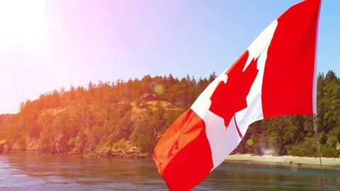 Canada Flag National Symbol, Boat Islands View, Sunset Lens Flare