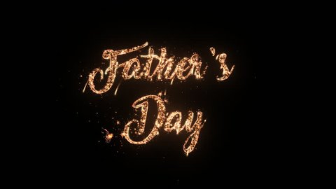 Happy Father's Day greeting text with particles and sparks isolated on black background, beautiful typography magic design.