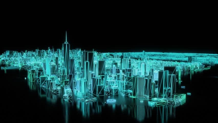 City neon glowing New York NYC flyover wireframe skyscraper 80s 4k