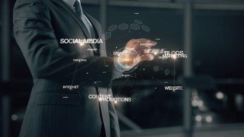 Businessman with online marketing