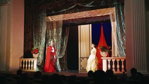 theatrical performance of a puppet theater for children