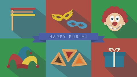 "Purim holiday flat design animation icon set with traditional symbols and text in english ""Happy Purim"". loop with alpha channel."