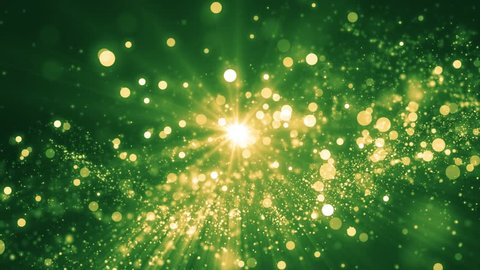 Green light shine particles bokeh, holiday concept. Christmas animated gold background with circles and stars. Space background. Screen green. Seamless loop.