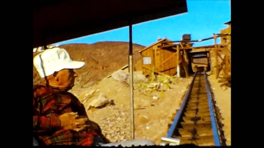 CALICO, CALIFORNIA/USA - CIRCA 1966: Several impressions & scenes from Calico Ghost Town located in the Mojave Desert. Vintage 8mm film.