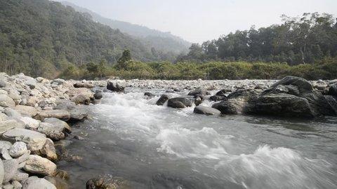 River Reshi flow between Sikkim and West Bengal Himalaya.
