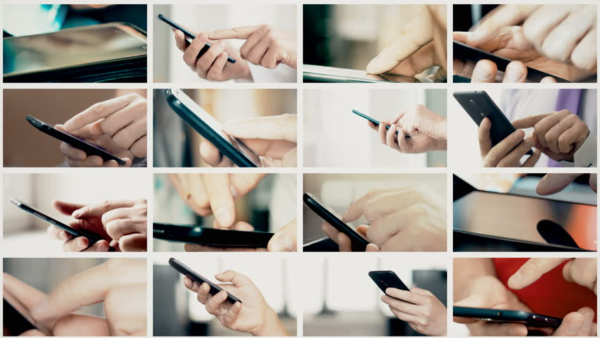 Collage of different people hands texting or typing SMS on smartphones. They using cell phones and smart phones. Technology and communication concept. 8K UltraHD (UHD) video | Shutterstock HD Video #1007213773