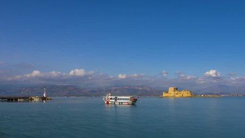 4K timelapse the Venetian castle in Nafplio city, Greece