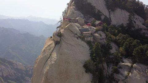 China Mt Huashan Aerial v20 Flying besides Changkong Plank Road along cliffside 5/17