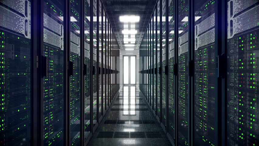 Servers racks walkthrough in Modern data center. Cloud computing datacenter server room. Cloud computing data storage 3d rendering. 4k UHD animation #1007253283