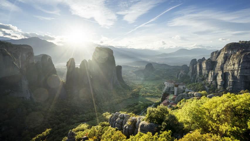 Meteora monasteries in Greece, timelapse